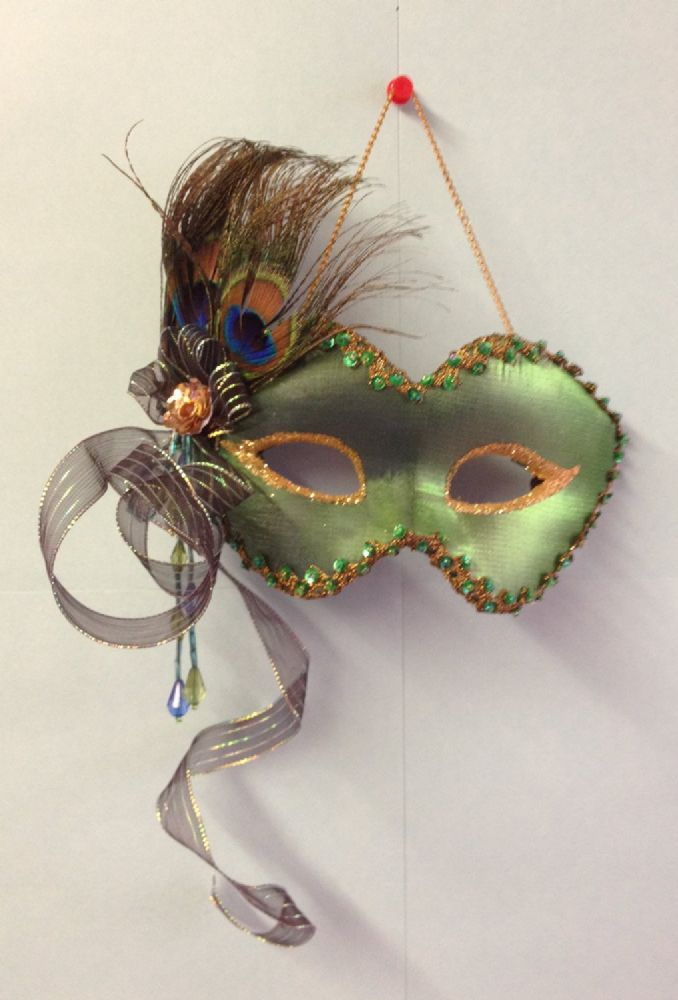 Emerald Green Peacock Feather ~ Hanging Masquerade Decorative Costume Ball Mask